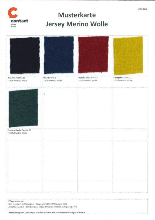 Musterkarte Jersey Merino Wolle